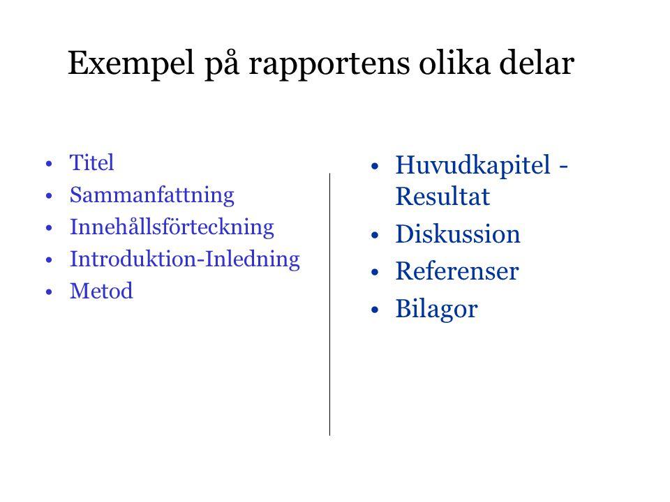 Exempel på rapportens olika delar •Titel •Sammanfattning •Innehållsförteckning •Introduktion-Inledning •Metod •Huvudkapitel - Resultat •Diskussion •Re