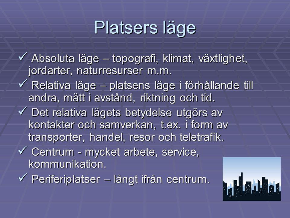 Platsers läge  Absoluta läge – topografi, klimat, växtlighet, jordarter, naturresurser m.m.