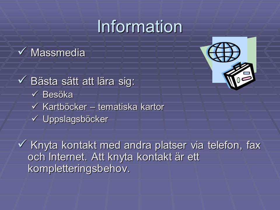 Information  Massmedia  Bästa sätt att lära sig:  Besöka  Kartböcker – tematiska kartor  Uppslagsböcker  Knyta kontakt med andra platser via telefon, fax och Internet.