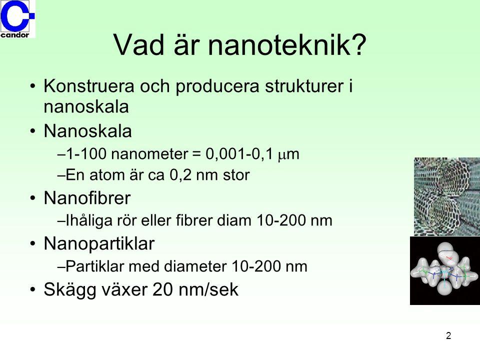 2 Vad är nanoteknik? •Konstruera och producera strukturer i nanoskala •Nanoskala –1-100 nanometer = 0,001-0,1  m –En atom är ca 0,2 nm stor •Nanofibr