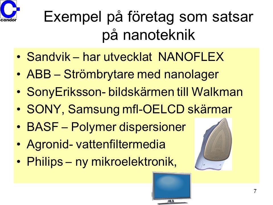 7 Exempel på företag som satsar på nanoteknik •Sandvik – har utvecklat NANOFLEX •ABB – Strömbrytare med nanolager •SonyEriksson- bildskärmen till Walk