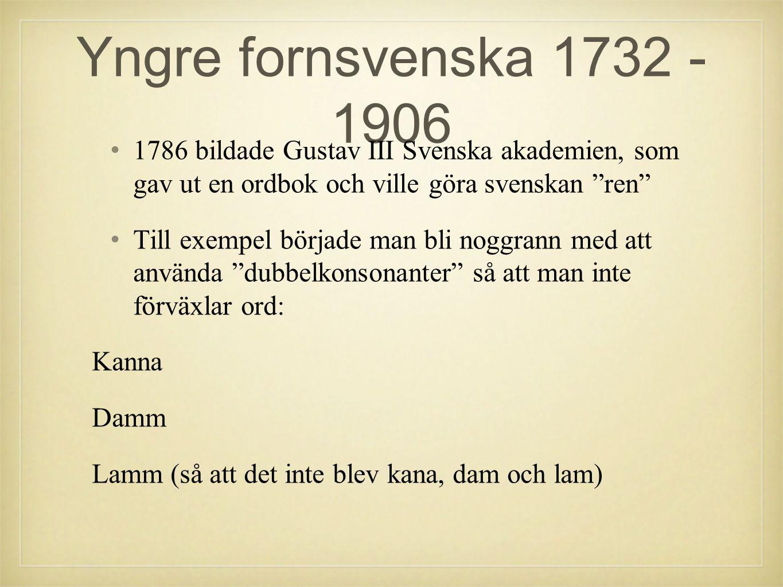 •1•1786 bildade Gustav III Svenska akademien, som gav ut en ordbok och ville göra svenskan ren •T•Till exempel började man bli noggrann med att använda dubbelkonsonanter så att man inte förväxlar ord: Kanna Damm Lamm (så att det inte blev kana, dam och lam)