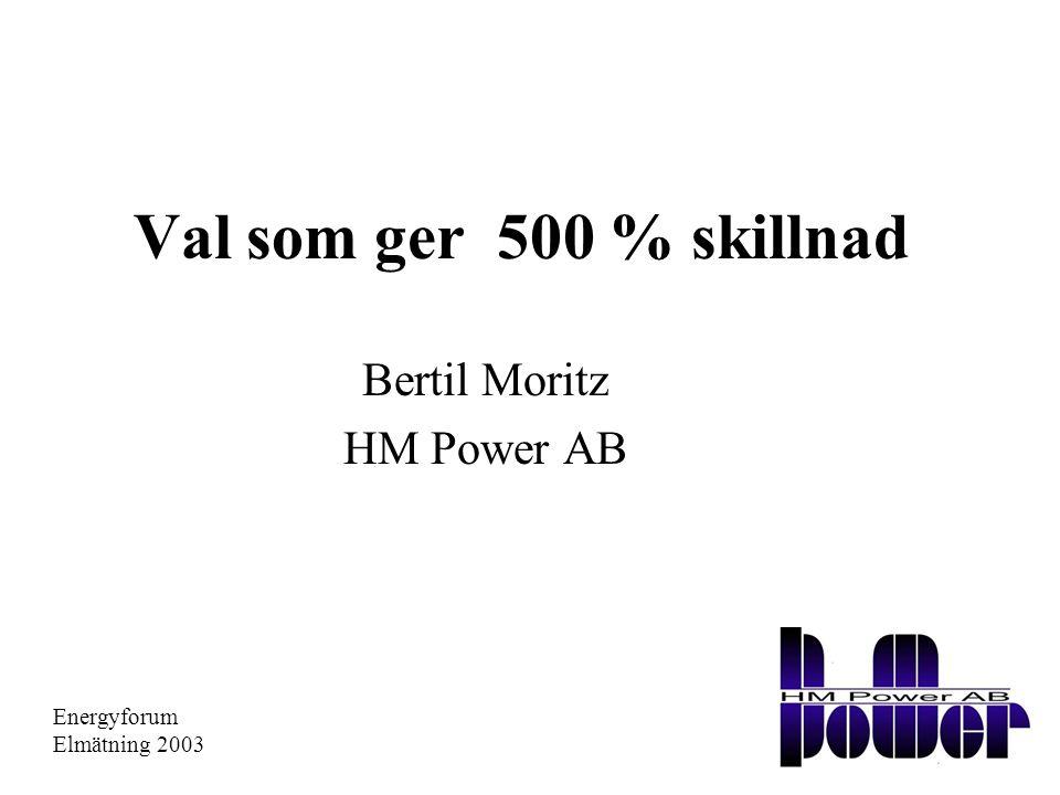 Val som ger 500 % skillnad Bertil Moritz HM Power AB Energyforum Elmätning 2003