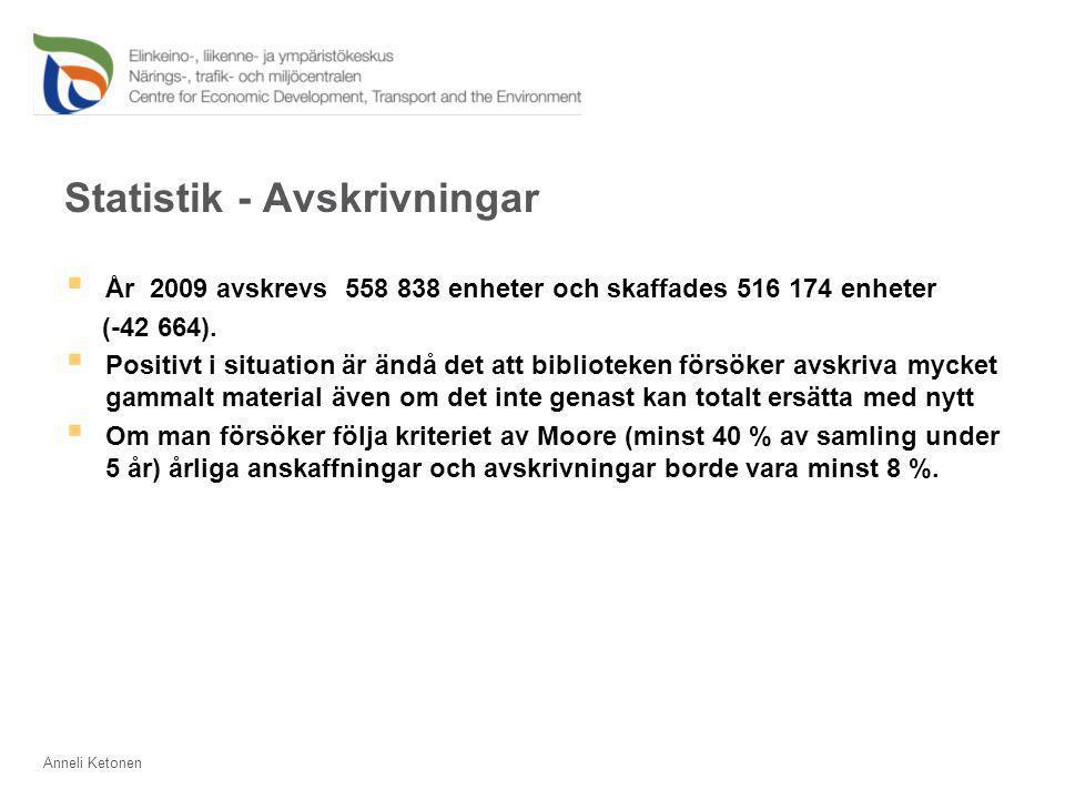 Statistik - Avskrivningar  År 2009 avskrevs 558 838 enheter och skaffades 516 174 enheter (-42 664).