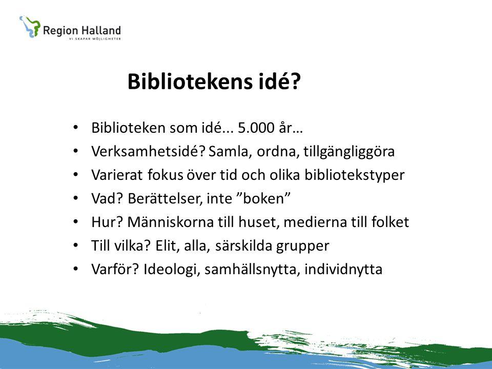 Bibliotekens idé. • Biblioteken som idé... 5.000 år… • Verksamhetsidé.