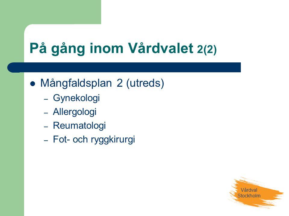 Vårdval Stockholm På gång inom Vårdvalet 2(2)  Mångfaldsplan 2 (utreds) – Gynekologi – Allergologi – Reumatologi – Fot- och ryggkirurgi