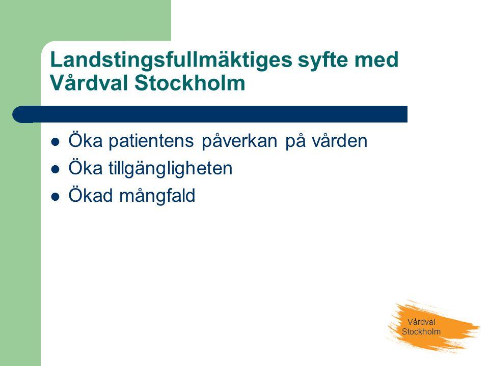 Vårdval Stockholm Landstingsfullmäktiges syfte med Vårdval Stockholm  Öka patientens påverkan på vården  Öka tillgängligheten  Ökad mångfald