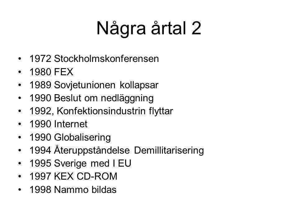 Några årtal 2 •1972 Stockholmskonferensen •1980 FEX •1989 Sovjetunionen kollapsar •1990 Beslut om nedläggning •1992, Konfektionsindustrin flyttar •1990 Internet •1990 Globalisering •1994 Återuppståndelse Demillitarisering •1995 Sverige med I EU •1997 KEX CD-ROM •1998 Nammo bildas