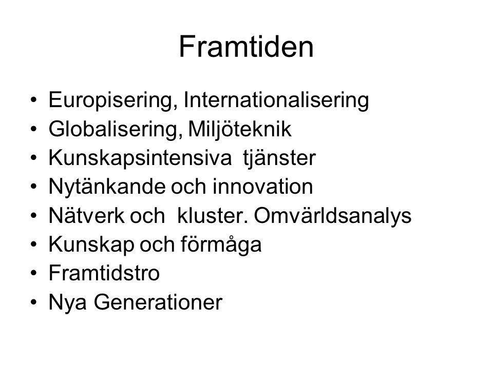 Framtiden •Europisering, Internationalisering •Globalisering, Miljöteknik •Kunskapsintensiva tjänster •Nytänkande och innovation •Nätverk och kluster.
