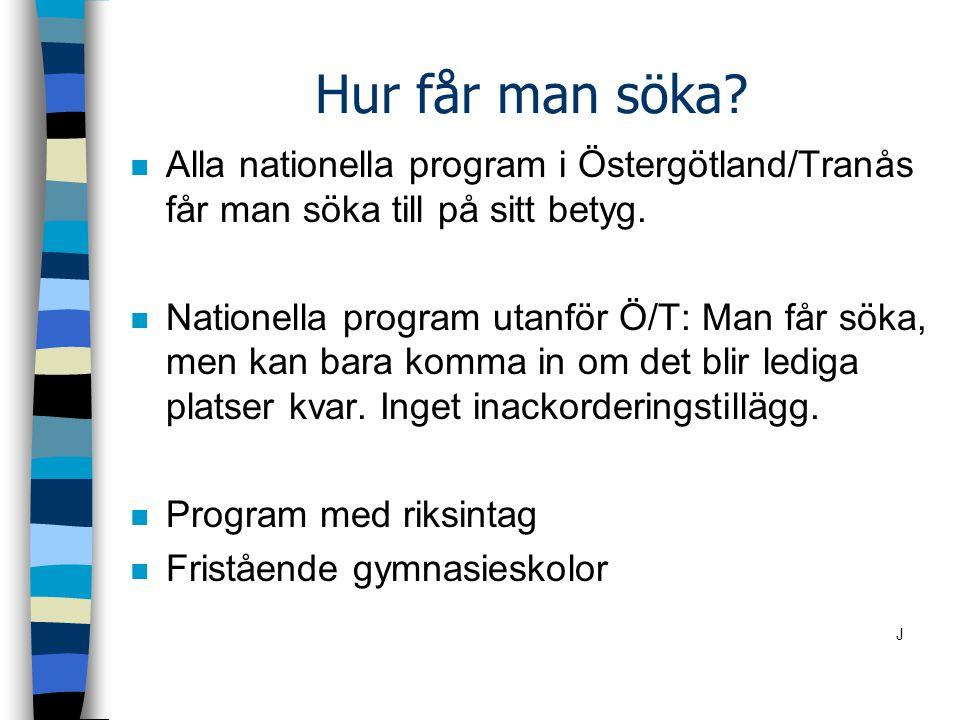 Hur får man söka.n Alla nationella program i Östergötland/Tranås får man söka till på sitt betyg.