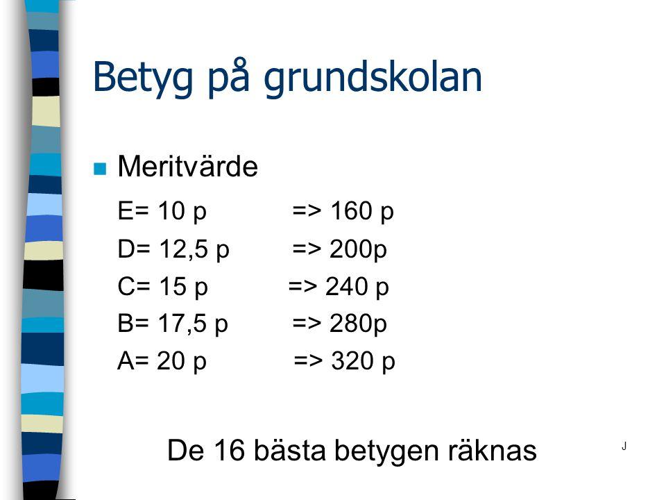 Betyg på grundskolan n Meritvärde E= 10 p=> 160 p D= 12,5 p=> 200p C= 15 p => 240 p B= 17,5 p => 280p A= 20 p => 320 p De 16 bästa betygen räknas J