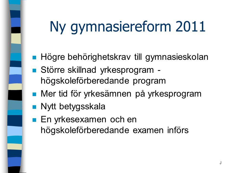 Behörighet till gymnasiet Yrkesprogram n Godkänd i svenska/svenska som andraspråk matematik engelska + fem andra ämnen E