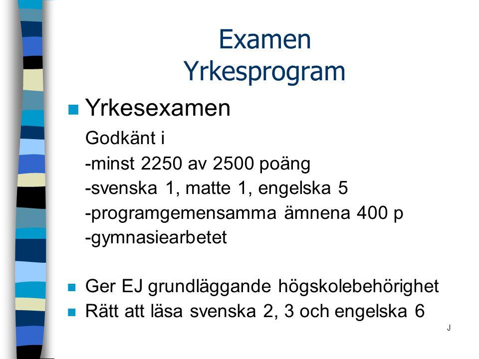 Examen Yrkesprogram n Yrkesexamen Godkänt i -minst 2250 av 2500 poäng -svenska 1, matte 1, engelska 5 -programgemensamma ämnena 400 p -gymnasiearbetet n Ger EJ grundläggande högskolebehörighet n Rätt att läsa svenska 2, 3 och engelska 6 J