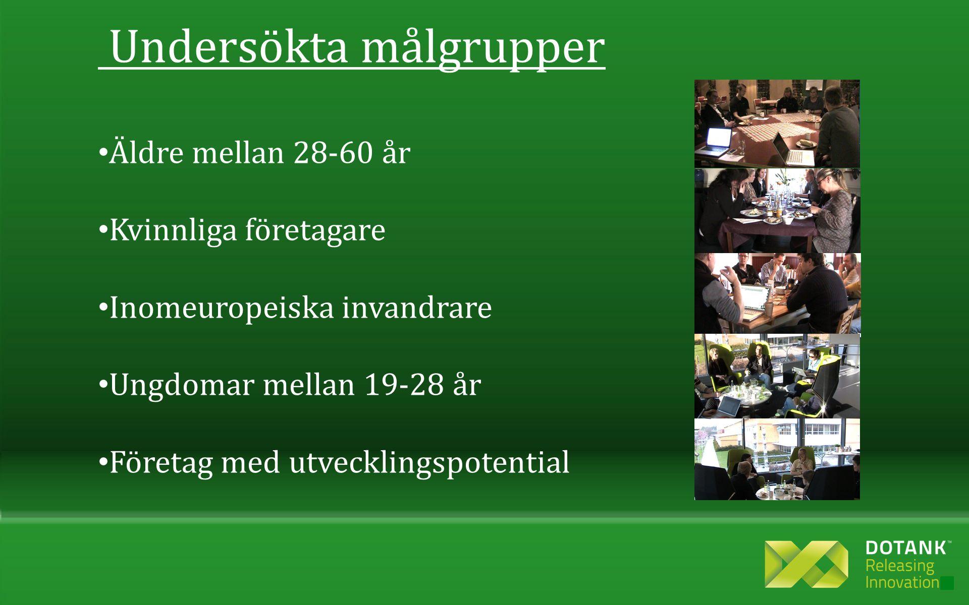 Undersökta målgrupper • Äldre mellan 28-60 år • Kvinnliga företagare • Inomeuropeiska invandrare • Ungdomar mellan 19-28 år • Företag med utvecklingspotential