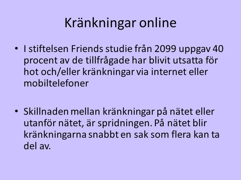 Kränkningar online • I stiftelsen Friends studie från 2099 uppgav 40 procent av de tillfrågade har blivit utsatta för hot och/eller kränkningar via in