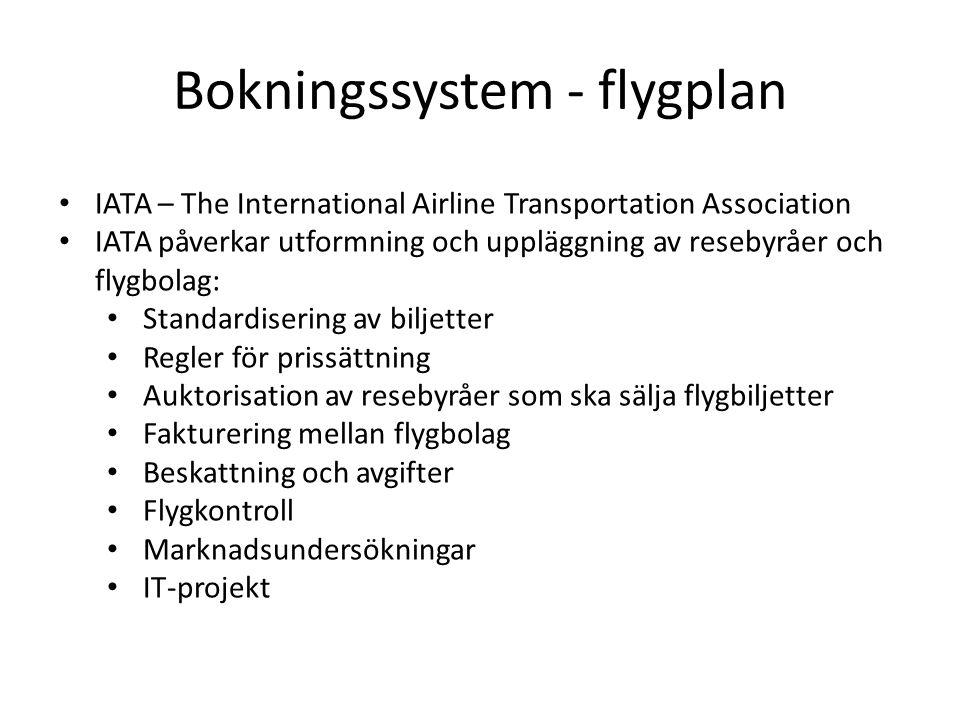 Bokningssystem - flygplan • IATA – The International Airline Transportation Association • IATA påverkar utformning och uppläggning av resebyråer och flygbolag: • Standardisering av biljetter • Regler för prissättning • Auktorisation av resebyråer som ska sälja flygbiljetter • Fakturering mellan flygbolag • Beskattning och avgifter • Flygkontroll • Marknadsundersökningar • IT-projekt