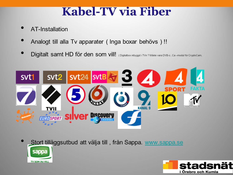 Kabel-TV via Fiber • AT-Installation • Analogt till alla Tv apparater ( Inga boxar behövs ) !! • Digitalt samt HD för den som vill! ( Digitalbox inbyg