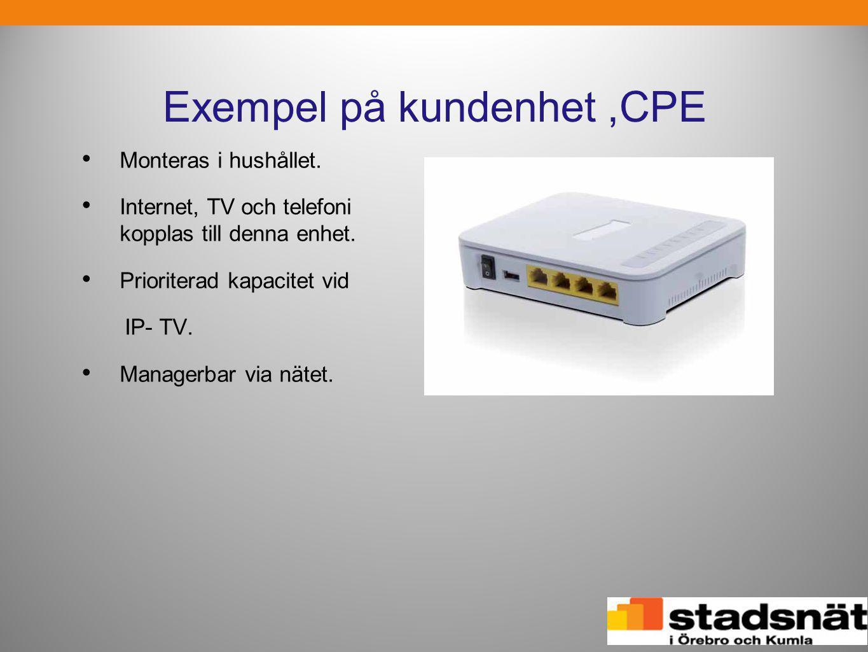Exempel på kundenhet,CPE • Monteras i hushållet. • Internet, TV och telefoni kopplas till denna enhet. • Prioriterad kapacitet vid IP- TV. • Managerba