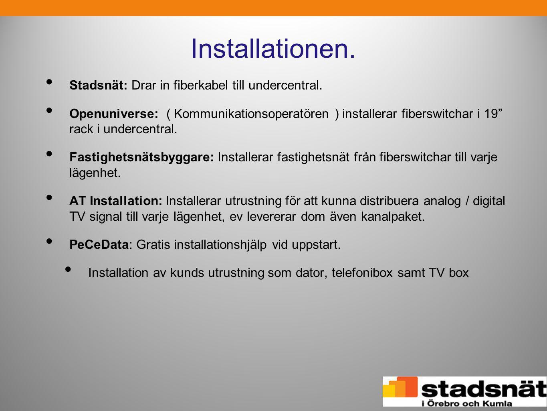 """Installationen. • Stadsnät: Drar in fiberkabel till undercentral. • Openuniverse: ( Kommunikationsoperatören ) installerar fiberswitchar i 19"""" rack i"""