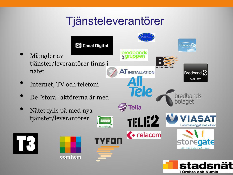 """Tjänsteleverantörer • Mängder av tjänster/leverantörer finns i nätet • Internet, TV och telefoni • De """"stora"""" aktörerna är med • Nätet fylls på med ny"""