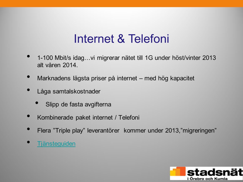 Internet & Telefoni • 1-100 Mbit/s idag…vi migrerar nätet till 1G under höst/vinter 2013 alt våren 2014. • Marknadens lägsta priser på internet – med