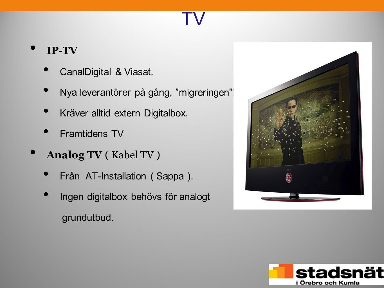 """TV • IP-TV • CanalDigital & Viasat. • Nya leverantörer på gång, """"migreringen""""! • Kräver alltid extern Digitalbox. • Framtidens TV • Analog TV ( Kabel"""