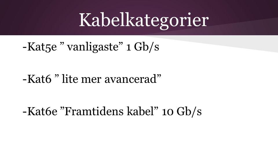 "Kabelkategorier -Kat5e "" vanligaste"" 1 Gb/s -Kat6 "" lite mer avancerad"" -Kat6e ""Framtidens kabel"" 10 Gb/s"