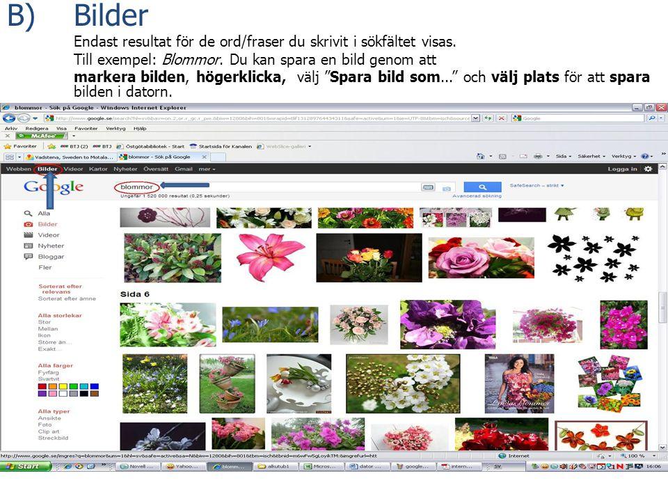 B) Bilder Endast resultat för de ord/fraser du skrivit i sökfältet visas. Till exempel: Blommor. Du kan spara en bild genom att markera bilden, högerk