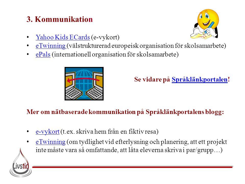 3. Kommunikation • Yahoo Kids ECards (e-vykort) Yahoo Kids ECards • eTwinning (välstrukturerad europeisk organisation för skolsamarbete) eTwinning • e