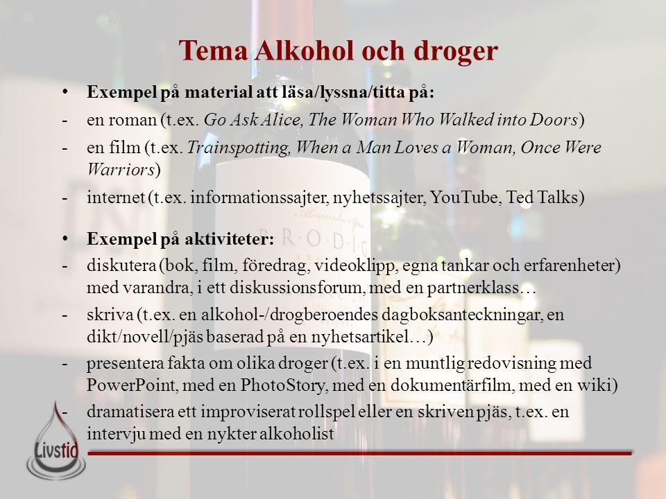 Tema Alkohol och droger • Exempel på material att läsa/lyssna/titta på: -en roman (t.ex. Go Ask Alice, The Woman Who Walked into Doors) -en film (t.ex