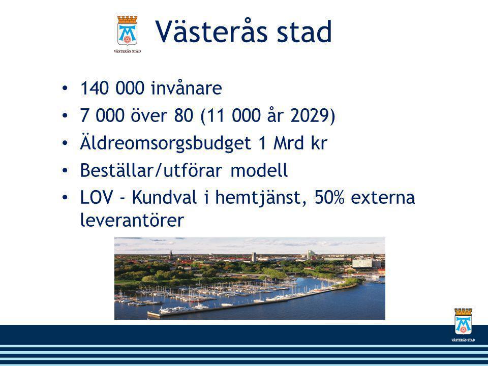 Västerås stad • 140 000 invånare • 7 000 över 80 (11 000 år 2029) • Äldreomsorgsbudget 1 Mrd kr • Beställar/utförar modell • LOV - Kundval i hemtjänst, 50% externa leverantörer