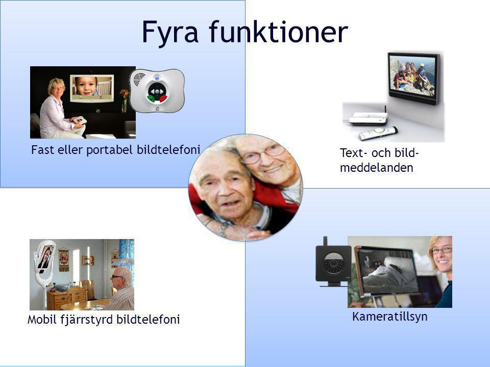 Fyra funktioner Fast eller portabel bildtelefoni Mobil fjärrstyrd bildtelefoni Text- och bild- meddelanden Kameratillsyn