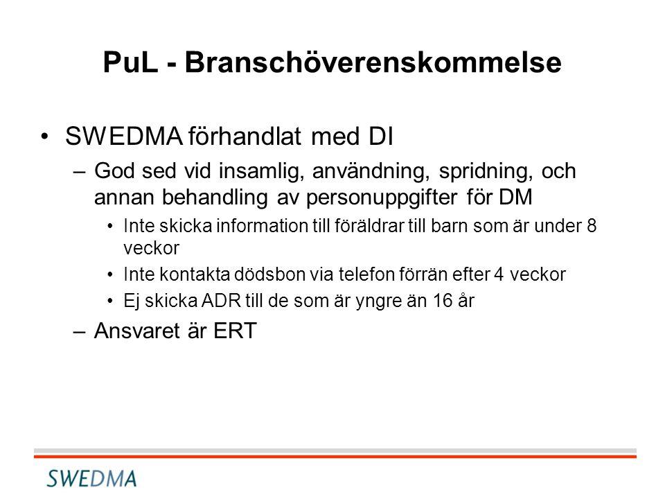 PuL - Branschöverenskommelse •SWEDMA förhandlat med DI –God sed vid insamlig, användning, spridning, och annan behandling av personuppgifter för DM •I