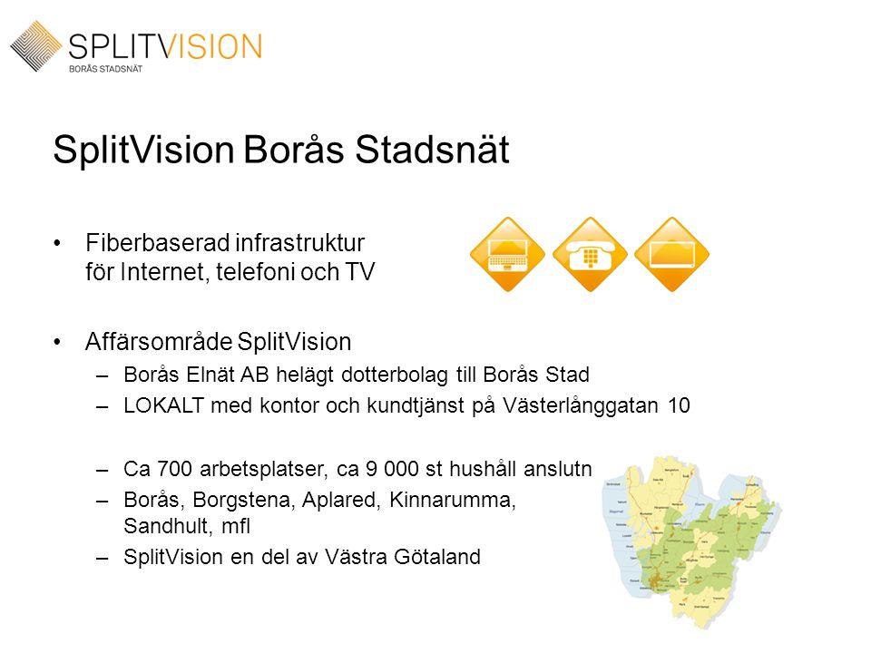 SplitVision Borås Stadsnät •Fiberbaserad infrastruktur för Internet, telefoni och TV •Affärsområde SplitVision –Borås Elnät AB helägt dotterbolag till