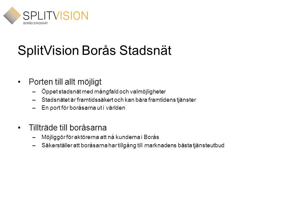 SplitVision Borås Stadsnät •Porten till allt möjligt –Öppet stadsnät med mångfald och valmöjligheter –Stadsnätet är framtidssäkert och kan bära framti