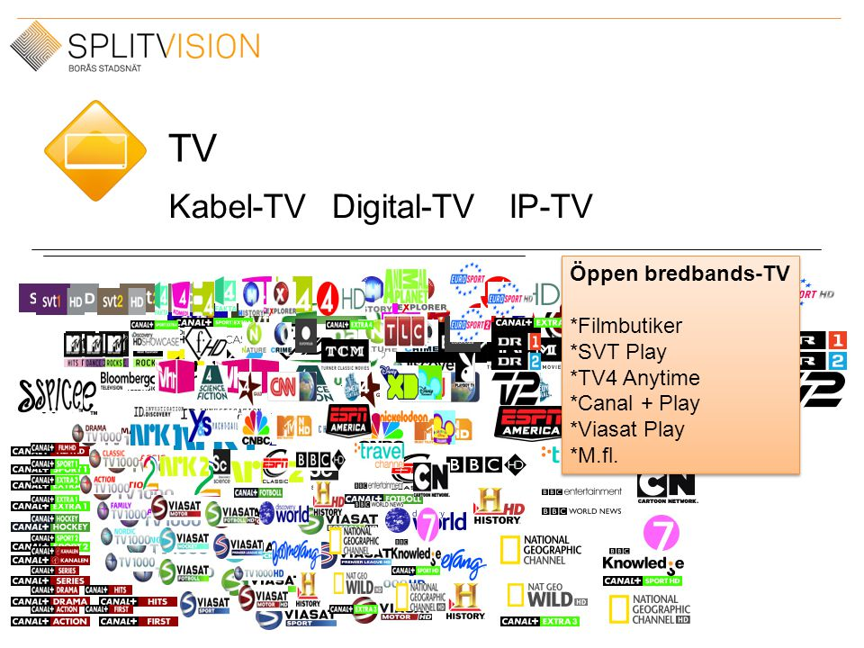 TV Kabel-TVDigital-TVIP-TV Öppen bredbands-TV *Filmbutiker *SVT Play *TV4 Anytime *Canal + Play *Viasat Play *M.fl. Öppen bredbands-TV *Filmbutiker *S