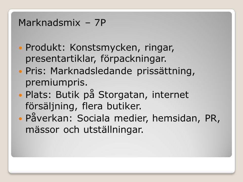 Marknadsmix – 7P  Produkt: Konstsmycken, ringar, presentartiklar, förpackningar.  Pris: Marknadsledande prissättning, premiumpris.  Plats: Butik på