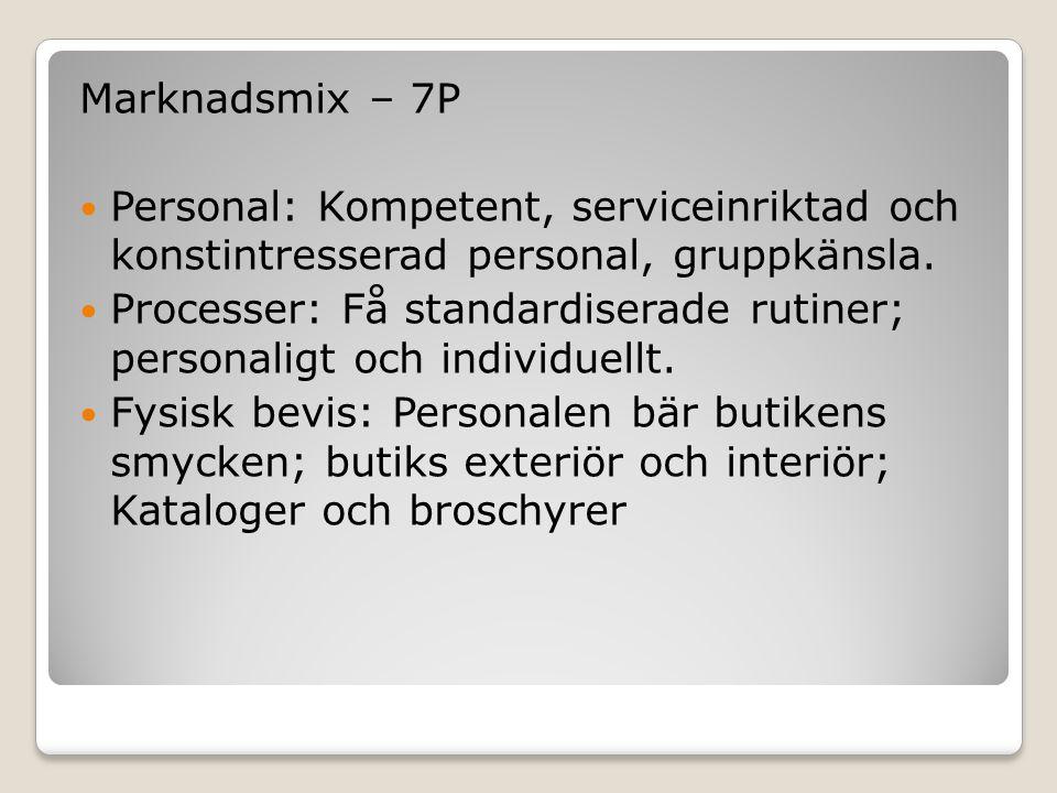 Marknadsmix – 7P  Personal: Kompetent, serviceinriktad och konstintresserad personal, gruppkänsla.  Processer: Få standardiserade rutiner; personali
