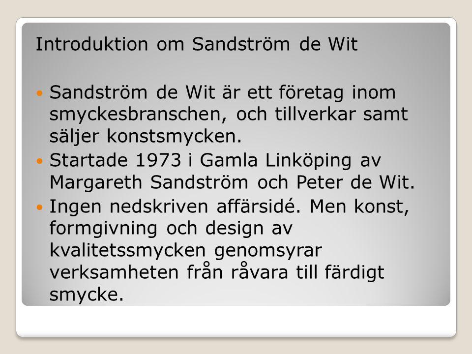 Introduktion om Sandström de Wit  Sandström de Wit är ett företag inom smyckesbranschen, och tillverkar samt säljer konstsmycken.  Startade 1973 i G