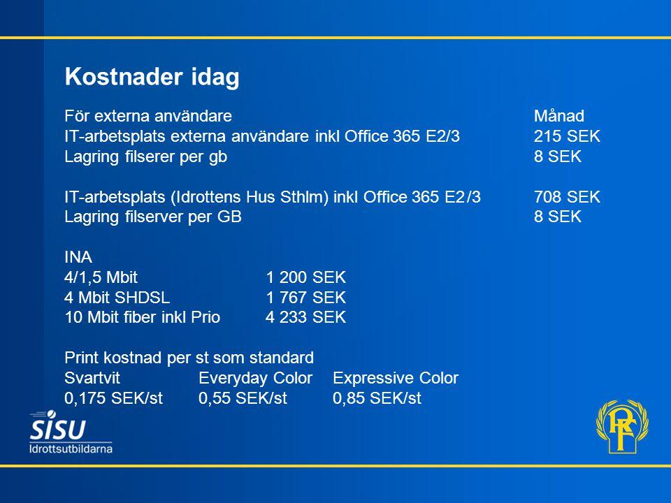 För externa användareMånad IT-arbetsplats externa användare inkl Office 365 E2/3215 SEK Lagring filserer per gb8 SEK IT-arbetsplats (Idrottens Hus Sthlm) inkl Office 365 E2/3708 SEK Lagring filserver per GB8 SEK INA 4/1,5 Mbit1 200 SEK 4 Mbit SHDSL1 767 SEK 10 Mbit fiber inkl Prio4 233 SEK Print kostnad per st som standard SvartvitEveryday ColorExpressive Color 0,175 SEK/st0,55 SEK/st0,85 SEK/st Kostnader idag