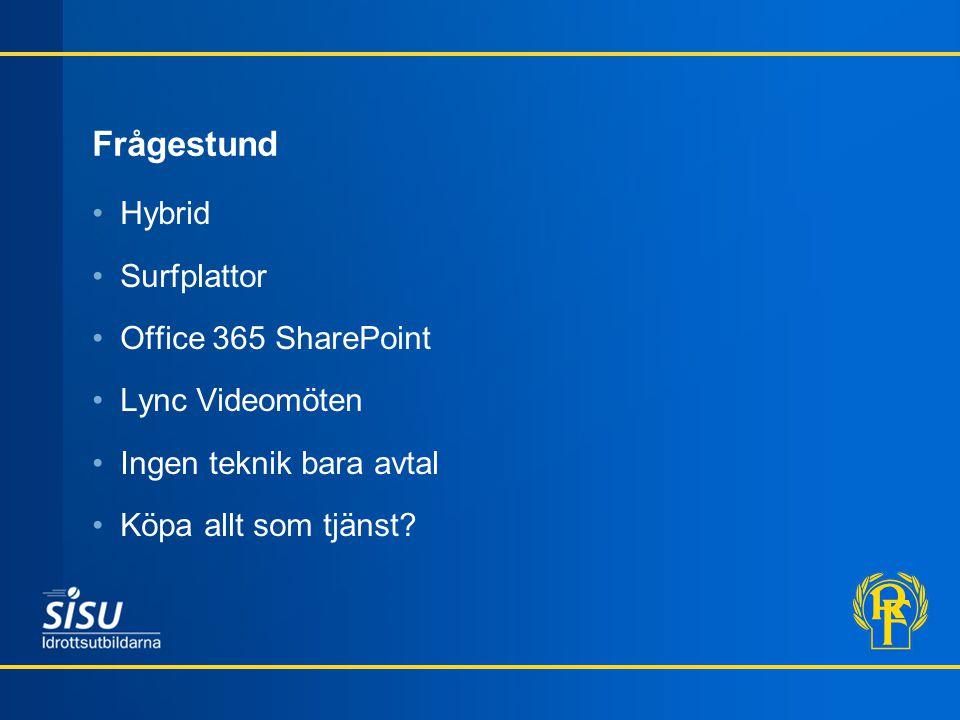 Frågestund •Hybrid •Surfplattor •Office 365 SharePoint •Lync Videomöten •Ingen teknik bara avtal •Köpa allt som tjänst?