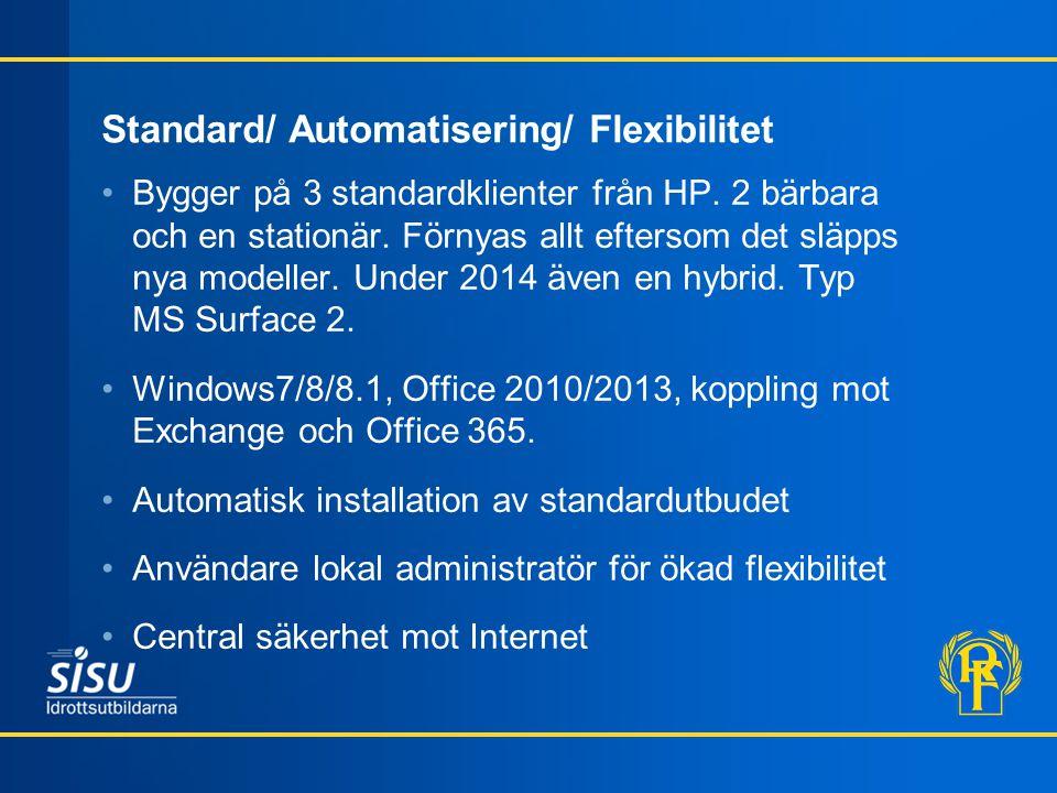 Standard/ Automatisering/ Flexibilitet •Bygger på 3 standardklienter från HP.
