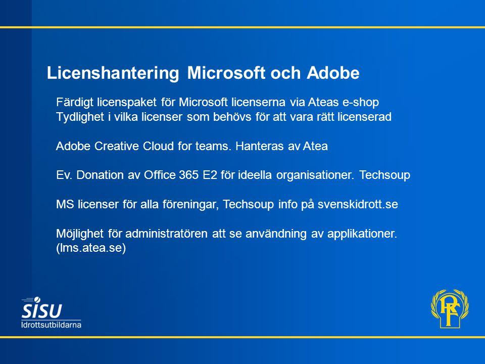 Licenshantering Microsoft och Adobe Färdigt licenspaket för Microsoft licenserna via Ateas e-shop Tydlighet i vilka licenser som behövs för att vara rätt licenserad Adobe Creative Cloud for teams.