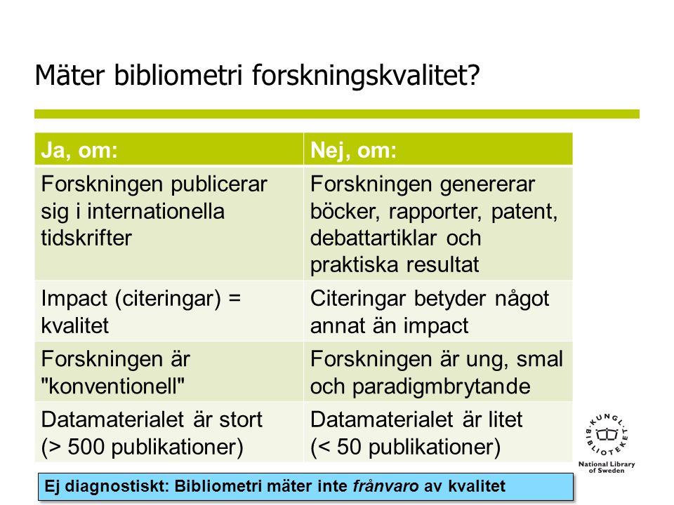 Mäter bibliometri forskningskvalitet.