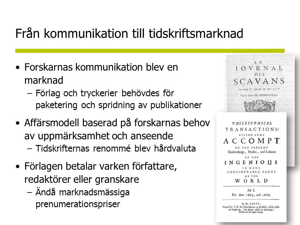 Från kommunikation till tidskriftsmarknad •Forskarnas kommunikation blev en marknad –Förlag och tryckerier behövdes för paketering och spridning av publikationer •Affärsmodell baserad på forskarnas behov av uppmärksamhet och anseende –Tidskrifternas renommé blev hårdvaluta •Förlagen betalar varken författare, redaktörer eller granskare –Ändå marknadsmässiga prenumerationspriser