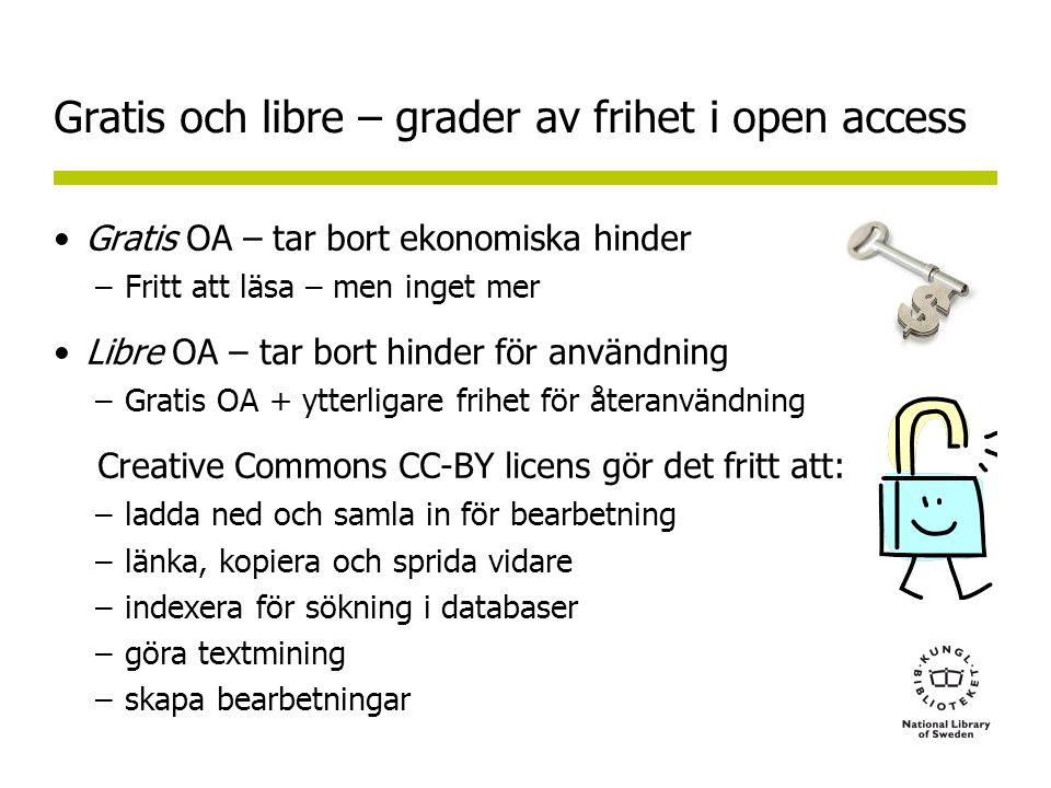 Gratis och libre – grader av frihet i open access •Gratis OA – tar bort ekonomiska hinder –Fritt att läsa – men inget mer •Libre OA – tar bort hinder för användning –Gratis OA + ytterligare frihet för återanvändning Creative Commons CC-BY licens gör det fritt att: –ladda ned och samla in för bearbetning –länka, kopiera och sprida vidare –indexera för sökning i databaser –göra textmining –skapa bearbetningar