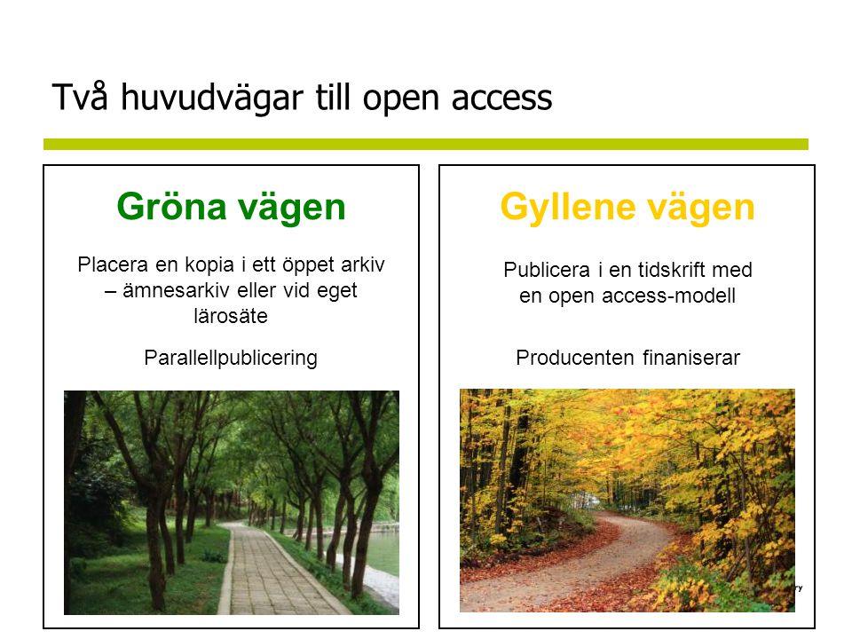Två huvudvägar till open access Gyllene vägen Publicera i en tidskrift med en open access-modell Producenten finaniserar Gröna vägen Placera en kopia i ett öppet arkiv – ämnesarkiv eller vid eget lärosäte Parallellpublicering