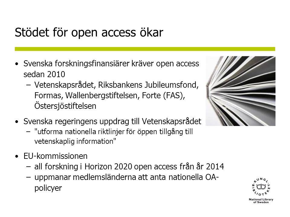 Stödet för open access ökar •Svenska forskningsfinansiärer kräver open access sedan 2010 –Vetenskapsrådet, Riksbankens Jubileumsfond, Formas, Wallenbergstiftelsen, Forte (FAS), Östersjöstiftelsen •Svenska regeringens uppdrag till Vetenskapsrådet – utforma nationella riktlinjer för öppen tillgång till vetenskaplig information •EU-kommissionen –all forskning i Horizon 2020 open access från år 2014 –uppmanar medlemsländerna att anta nationella OA- policyer