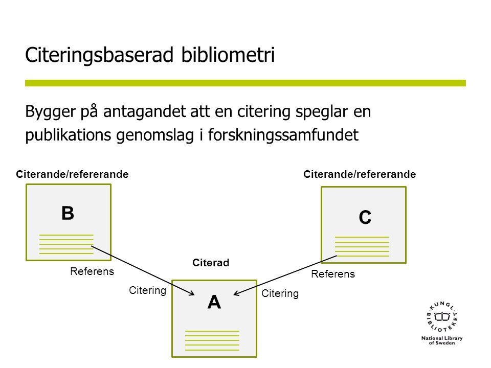 Citeringsbaserad bibliometri Bygger på antagandet att en citering speglar en publikations genomslag i forskningssamfundet A C Citerande/refererande Referens Citering B Citerande/refererande Citerad Referens Citering