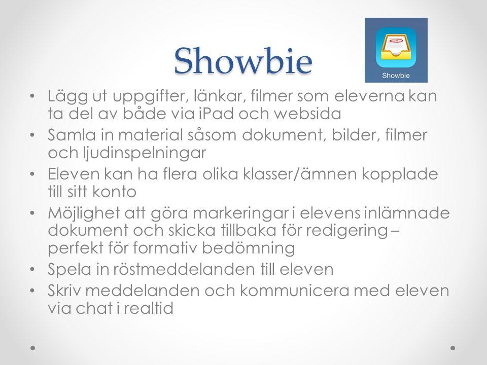 Showbie • Lägg ut uppgifter, länkar, filmer som eleverna kan ta del av både via iPad och websida • Samla in material såsom dokument, bilder, filmer oc